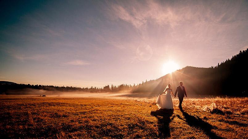 sesja ślubna poranna w górach